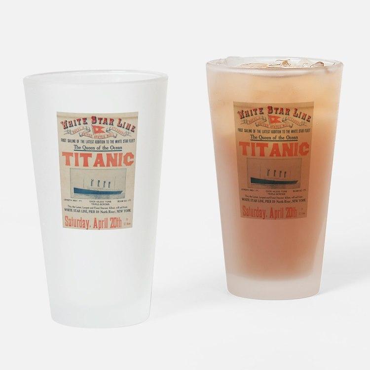 Titanic Advertising Card Drinking Glass