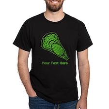 Lacrosse Crosse. Green Text. T-Shirt