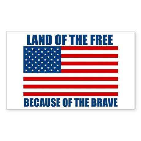 Because of the Brave Sticker (Rectangle 10 pk)