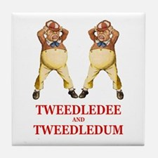 Tweedledee and Tweedledum Tile Coaster