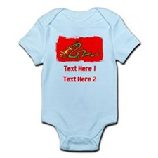 Dragon with Custom Writing. Infant Bodysuit