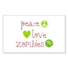 Peace, Love and Zombies Decal