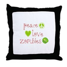 Peace, Love and Zombies Throw Pillow