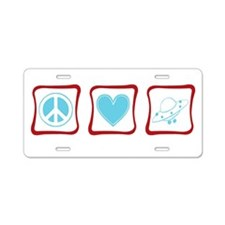 Peace, Love and Aliens Aluminum License Plate