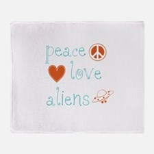 Peace, Love and Aliens Throw Blanket