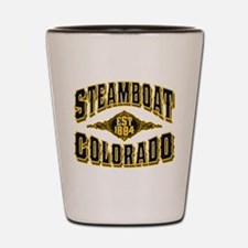 Steamboat Colorado Old Gold Shot Glass