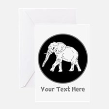 Elephant and Gray Writing. Greeting Card