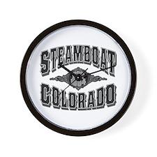 Steamboat Colorado Black Silver Wall Clock