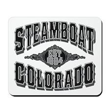 Steamboat Colorado Black Silver Mousepad