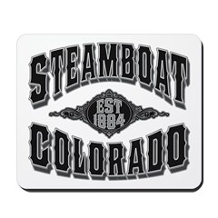 Steamboat Colorado Black Silver Mousepad