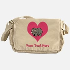 Elephant, Heart and Pink Text Messenger Bag