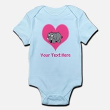 Elephant, Heart and Pink Text Infant Bodysuit