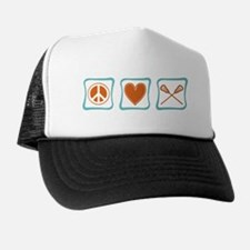 Peace, Love and Lacrosse Trucker Hat