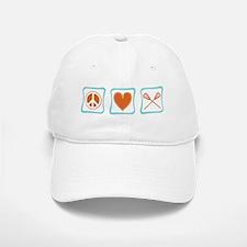 Peace, Love and Lacrosse Baseball Baseball Cap