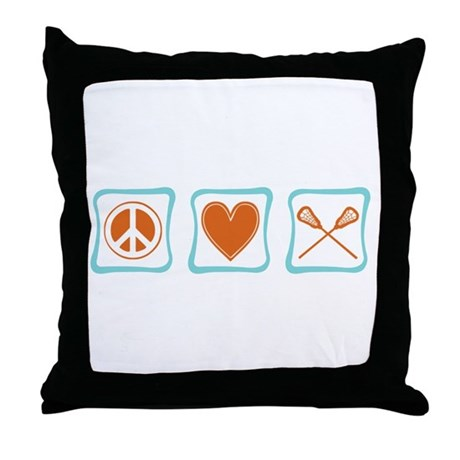 Peace, Love and Lacrosse Throw Pillow