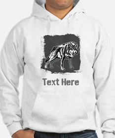 Gray Wolf and Writing. Hoodie