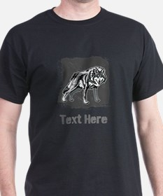 Gray Wolf and Writing. T-Shirt