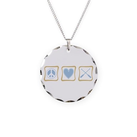 Peace, Love and Rowing Necklace Circle Charm