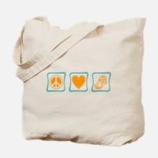 Peace, Love and Running Tote Bag