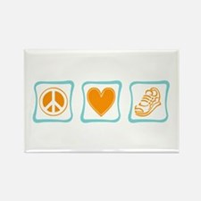 Peace, Love and Running Rectangle Magnet