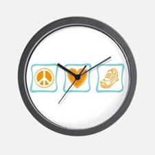 Peace, Love and Running Wall Clock