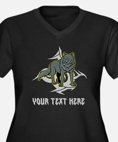 Cool Wolf and Gray Text. Women's Plus Size V-Neck