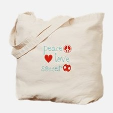 Peace, Love and Soccer Tote Bag