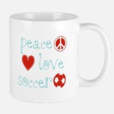 Peace, Love and Soccer Mug