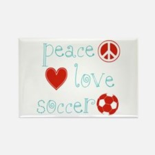 Peace, Love and Soccer Rectangle Magnet