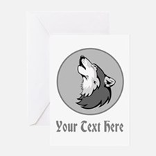 A Wolf Howling. Gray Text. Greeting Card