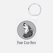 A Wolf Howling. Gray Text. Keychains