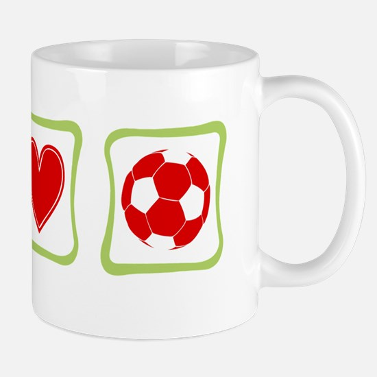 Peace, Love and Soccer Mug