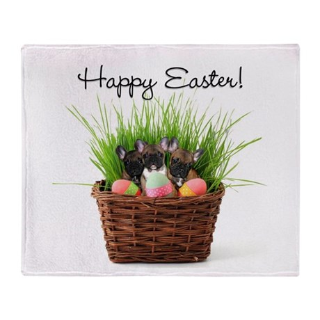 Easter french bulldogs Throw Blanket