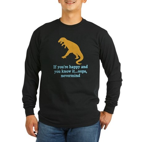 T Rex Can't Clap Hands Long Sleeve Dark T-Shirt