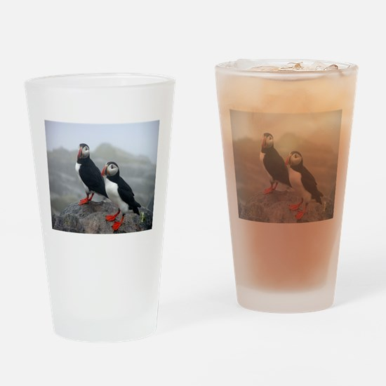 Puffins Keeping Watch Drinking Glass
