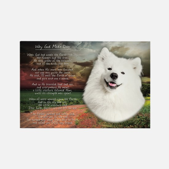 """Why God Made Dogs"" Samoyed Rectangle Magnet"