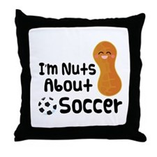 Nuts About Soccer Throw Pillow