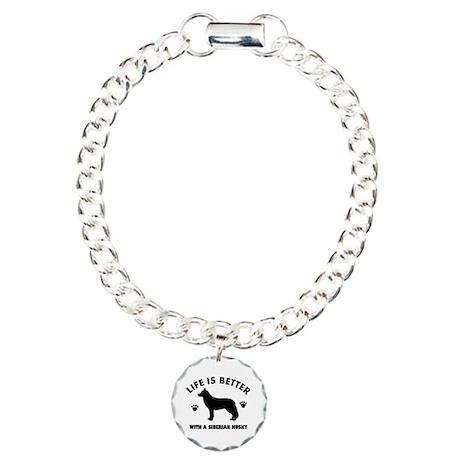 Siberian husky breed Design Charm Bracelet, One Ch