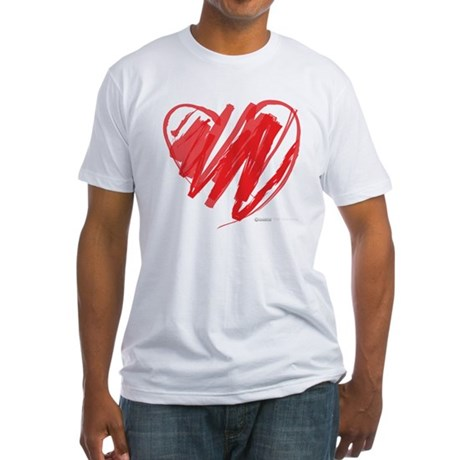 Crayon Heart Fitted T-Shirt