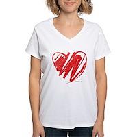 Crayon Heart Women's V-Neck T-Shirt