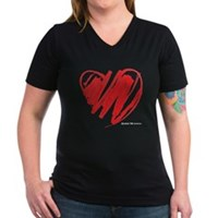Crayon Heart Women's V-Neck Dark T-Shirt