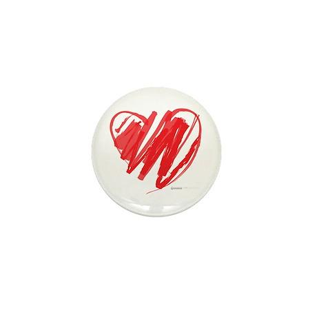 Crayon Heart Mini Button