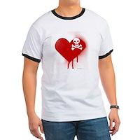Emo Skull Heart Ringer T