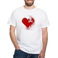 Emo Skull Heart White T-Shirt