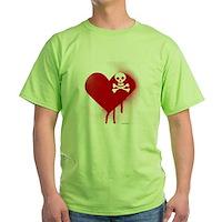Emo Skull Heart Green T-Shirt