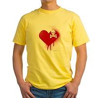 Emo Skull Heart Yellow T-Shirt