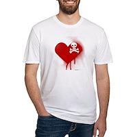 Emo Skull Heart Fitted T-Shirt