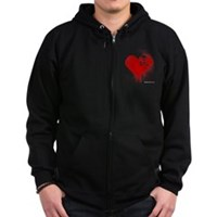 Emo Skull Heart Zip Hoodie (dark)
