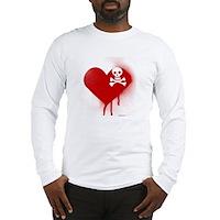 Emo Skull Heart Long Sleeve T-Shirt