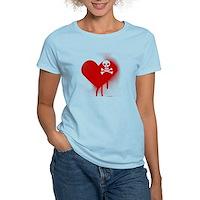 Emo Skull Heart Women's Light T-Shirt